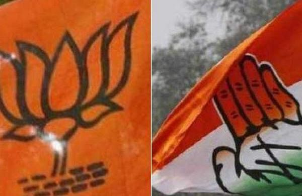 Image of BJP, Congress flags for representational purpose