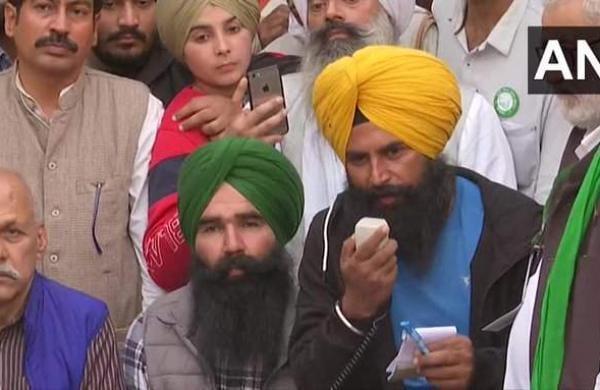 Farmer leaders at Singhu border