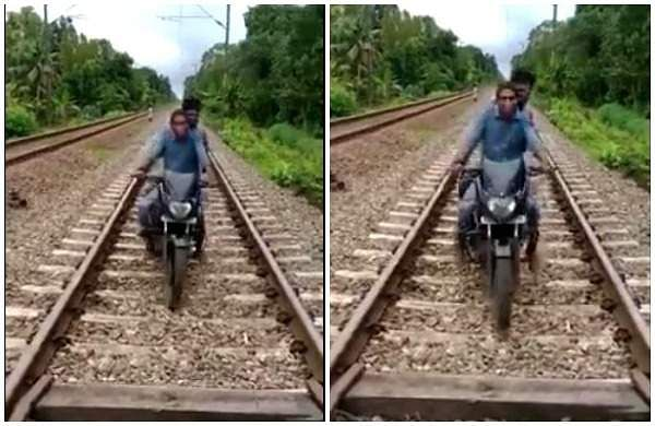 Bike ride along the railway track to exit the cantonment zone