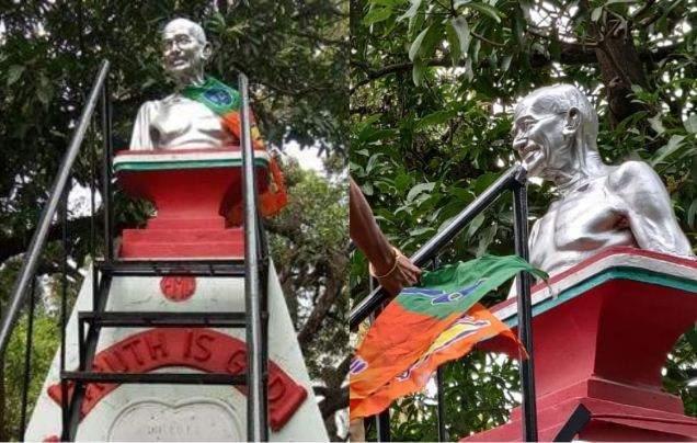 bjp flag on gandhi statue palakkad