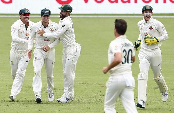 australian players celebrating the wicket of gill