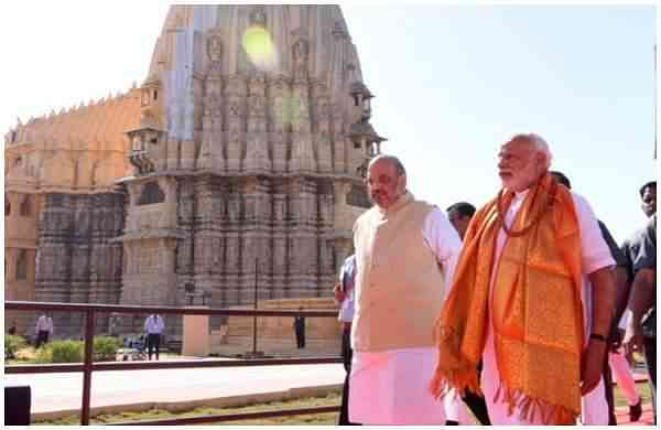 modi,amit_shah_in_somnath_temple