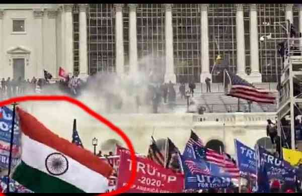 INDIAN FLAG in trump supporters demonstration