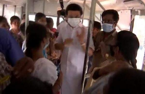 MK Stalin Boards Public Bus