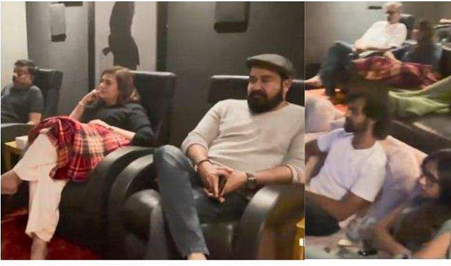 mohanlal watching drishyam 2 with_family