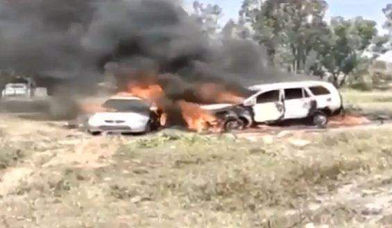 Cars with firecrackers set on fire
