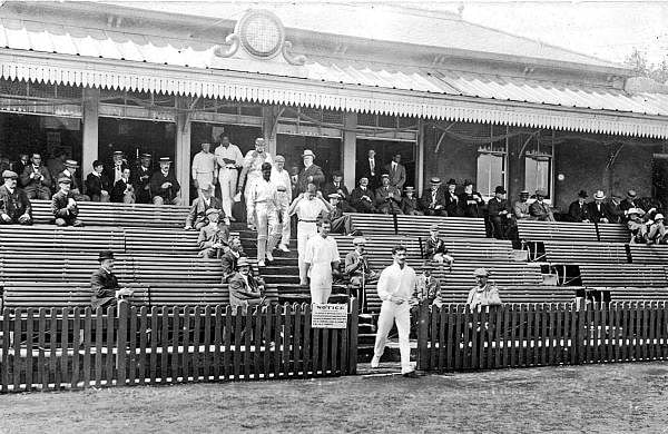 Captain_HD_Kanga_leads_the_Indian_cricket_team_out_against_the_Sussex_Country_Cricket_Club