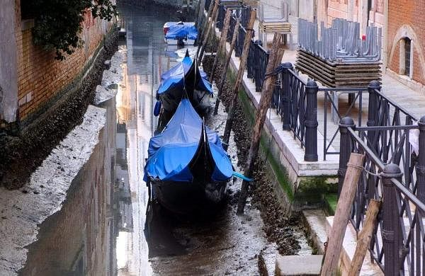 canals of Venice in Italy nearly dried up