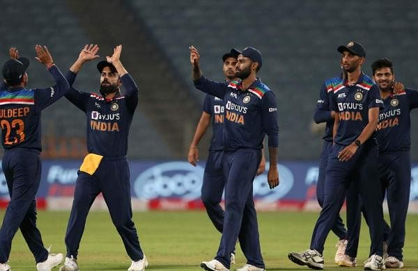 indian players celebrating victory over england in the first odi