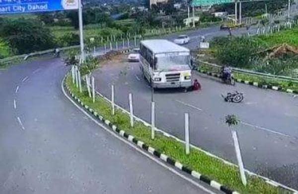 Biker miraculously escapes
